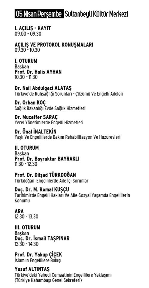 """di 01 - """"Din, Felsefe ve Bilim Işığında Engelli Olmak ve Sorunları Sempozyumu"""" 5-6 Nisan 2012"""